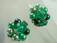 X Pretty Vintage 1950s Japan Green Thermoset & Lucite Earrings  21C