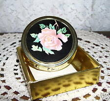Rose Design Vanity Pill Box or Small Compact