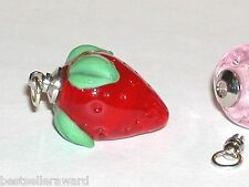 1 Glass Lampwork Strawberry BOTTLE fruit oil perfume bead pendant vial Screw Cap