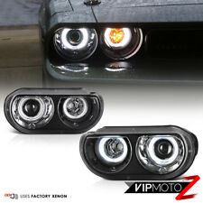 [For Xenon HID Model] 2008-2014 Dodge Challenger CCFL Halo Black Headlights PAIR