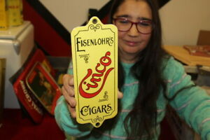Eisenlohr's Cinco Cigars Tobacco Gas Oil Porcelain Metal Sign