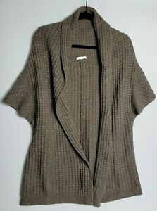 N PEAL 100% PURE CASHMERE WOMENS CABLE KNIT LONG CARDIGAN S/M MEDIUM BROWN 821