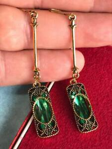 Vintage Style Art Deco Revival Emerald Green Glass Crystal Statement EARRINGS