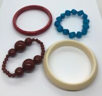 Vintage Bracelet Lot Of 4 Lucite Bangle Bead Stretch