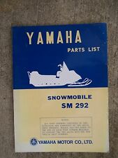 **1972 Yamaha SM292 Snowmobile Illustrated Parts List MORE SNO-MO IN STORE  V