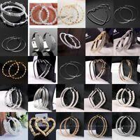 Big Hoop Earrings Crystal Drop Dangle Large Hoops Jewelry Gifts Women Ladies New
