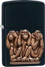 Zippo Three Monkeys, See, Hear, Speak No Evil, Black Matte Lighter New 29409