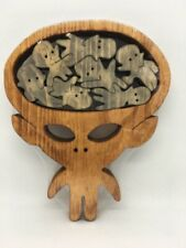 Wooden Scroll Saw Puzzle - The Alien - Handmade -8 Pieces - Stained