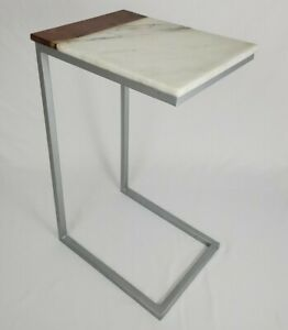 """Mid Century Cantilever Table Sofa Side Steel Marble Wood Top Retro Vintage 26"""""""