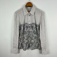 Marc Cain Womens Blouse Top Size AU 12-14 White Striped Floral Long Sleeve