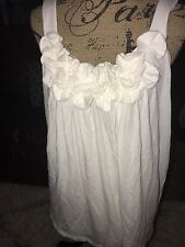 Express Size L Ivory Cami Tank with Floral Ruffle Bust NWOT