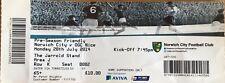 NORWICH CITY v OGC NICE. Pre-Season Friendly Used Ticket  2014/15