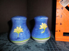 SALT AND PEPPER SHAKERS  WITH BLUE WITH PINK/YELLOW FLOWERS EUC