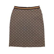 Fendi Mini Skirt Brown FF Zucchino Print Elasticated Size M