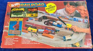 1980s Vintage Hot Wheels Railroad Train Set Take Along Freight Yard w/4 Trains