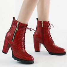 Womens's Combat Boots Punk Lace Up Pointed Toe Chunky Heel Ankle Bootie Red US 6