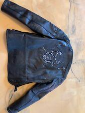 First Racing Size Large L Black Skull Leather Jacket Coat