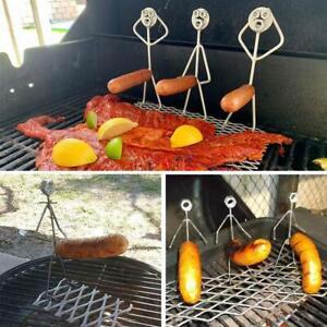 Stainless Steel Wood Hot Dog Basket Corn Chicken Wind Rack BBQ Grill Accessories