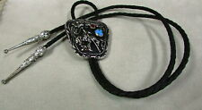 Silver Tone, Coral and Turquoise Southwest End of the Trail Bolo Tie