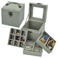 Portable Jewelry Organizer Box Three layer Leather Ornaments Storage Case H0002