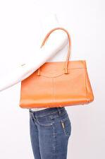 TODS Burnt Orange Pebbled Leather Medium Size Top Stitched Shoulder Bag Purse
