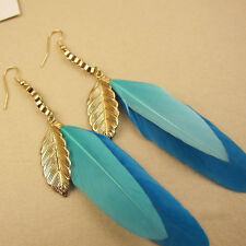 1pair Fashion feather earring Bohemian Tassel Long Dangling Charm women jewelry