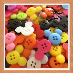 **10 Large - Mickey Mouse Head Themed Sewing Buttons - 4 Holes - Approx 22mm**