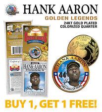 HANK AARON Golden Legends 24K Gold Plated GEORGIA State Quarter U.S. Coin - BOGO