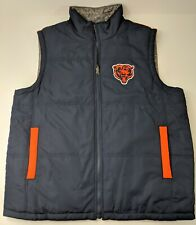 Bears Puffer Vest Chicago Reversible Large NFL Football Zip Up Embroidered Patch