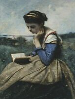 Woman Reading Camille Corot Wall Art Print on CANVAS Giclee Home Decor Small