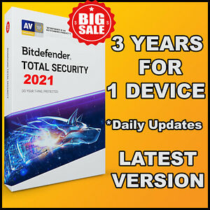BITDEFENDER TOTAL SECURITY 2021  3 YEARS ONE DEVICE ACTIVATION - GLOBAL GENUINE