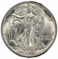 1943 50c Walking Liberty Half Dollar - Luster - High-Grade - UNC - SKU-Y1094