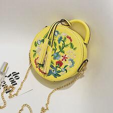 Womens Embroidery Flower Round Bag Tote Handbag Messenger Shoulder Cross Body US