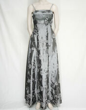 LONG STRAP SILVER GREY SATIN EVENING PROM DRESS FLORAL LACE TRIM CHERLONE 12/14