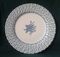 ROYAL VICTORIA ROSE BOUQUET PLATE IRONSTONE CHINA DINNER PLATE SWIRL DESIGN BLUE