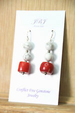 Coral Red Roundel & White Agate Gemstone Earrings .925 Sterling Silver Hooks