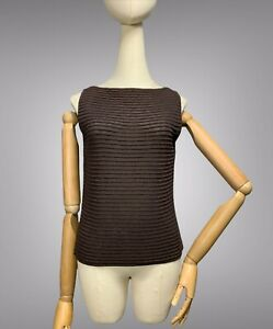 SARAH PACINI Sweater Top Size S Brown Wool Blend Ribbed Knitted Sleeveless Tank