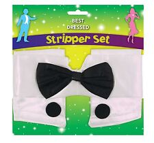 Stripper Set Fancy Dress Macho Pajarita Cuello Y Puños Topless camarero Butler