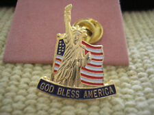 HAT PIN - GOD BLESS AMERICA - U. S. FLAG AND STATUE OF LIBERTY