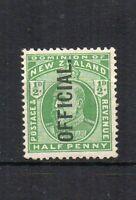 New Zealand 1910 1/2d OFFICIAL opt MLH