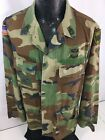 Vtg Military Men Green Woodland Camouflage Combat Army Fatigue Camo Shirt Coat M