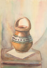 Vintage impressionist watercolor painting still life with pottery basket
