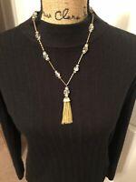 Vintage Gold Tone Chrystal Beads Tassel Pendant Necklace