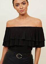 New Look Womens Black Frill Bardot Bodysuit Fashion Top Sizes 6 to 18