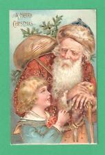 VINTAGE CHRISTMAS SANTA CLAUS POSTCARD BROWN COAT/BLUE CAP SACK CANE TREE CHILD