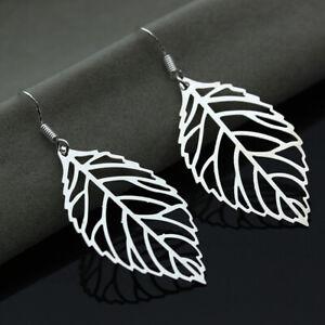 Women Fashion Silver Plated Hollow Leaf Hook Drop Earrings Party Wedding Jewelry