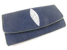 Genuine Stingray Skin Leather Women Trifold Clutch Wallet Navy Blue + Free Ship