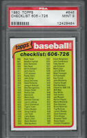 1980 Topps Checklist 606-726 #646 PSA 9 MINT SET BREAK