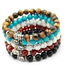 1pcs  Fashion Natural Color Stone Beads Tibetan Silver Buddha Lucky Man Bracelet