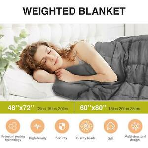 "Weighted Blanket Reduce Stress Promote Deep Sleep 12 15 20 25lb 60X80"" 42x78''"